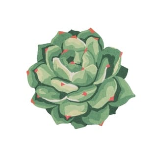 Novogratz by Momeni Cucina Succulent Green Kitchen Mat - 3' x 3'