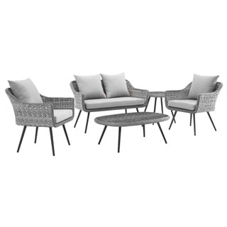 Endeavor 5 Piece Outdoor Patio Wicker Rattan Sectional Sofa Set