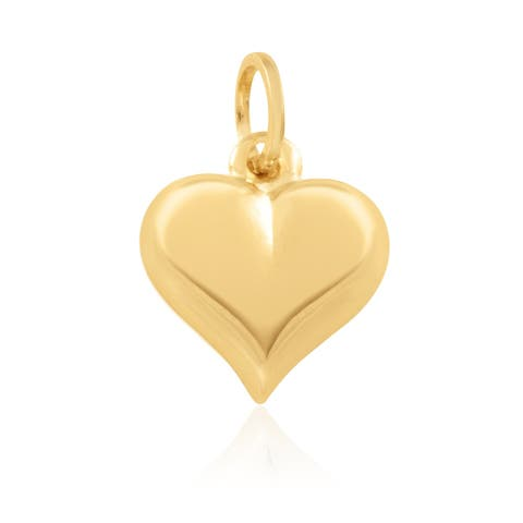 14KT Yellow Gold Puffed Heart Fashion Pendant / Charm for Women - Available in Various Sizes and Exquisite Designs