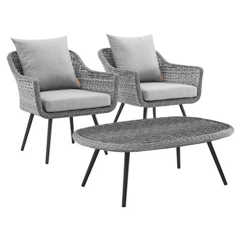 Endeavor 3 Piece Outdoor Patio Wicker Rattan Sectional Sofa Set