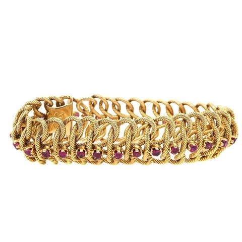18K Yellow Gold Ruby Vintage Cocktail Bracelet (8 Inches)