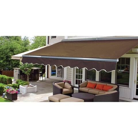 ALEKO Sunshade Half Cassette Retractable Patio Awning 10x8 ft Brown