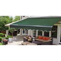 ALEKO Sunshade Half Cassette Retractable Patio Awning 12x10 ft Green