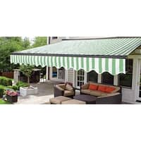 ALEKO Sunshade Half Cassette Retractable Patio Awning 10x8 ft Green/White Stripes