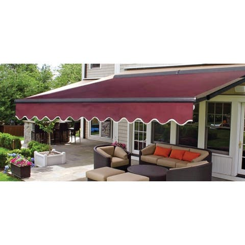 ALEKO Sunshade Half Cassette Retractable Patio Awning 12x10 ft Burgundy
