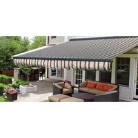 ALEKO Sunshade Half Cassette Retractable Patio Awning 10x8 ft Multi-Striped Green