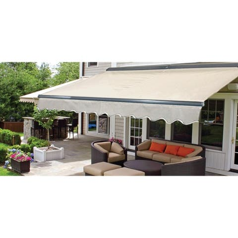 Aleko Sunshade Half Cette Retractable Patio Awning 13x10 Ft Ivory