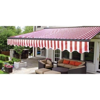 ALEKO Half Cassette Retractable Patio Deck Awning 13x10 ft Red/White Striped