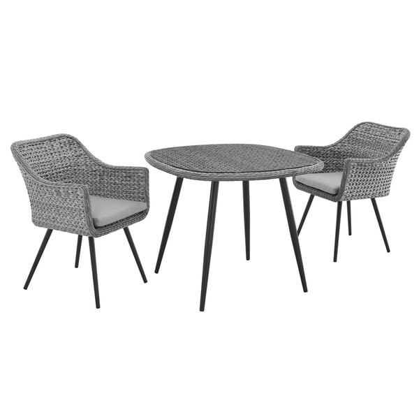 Endeavor 3 Piece Outdoor Patio Wicker Rattan Dining Set