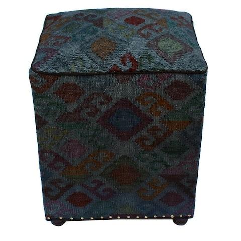 Hagan Grey and Rust Wool Handmade Kilim Upholstered Ottoman - 20 x 16 x 16