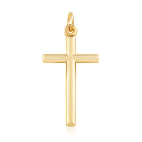 14K Yellow 2 Tone Gold Small Jesus Crucifix Hollow Cross Pendant Baby /& Children