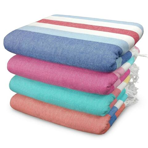 "Kaufman - SAND FREE Fouta Stripe Towel set - 4 Pack Large 36"" X 70"" Brushes Sand Easily (1450-4pk)"