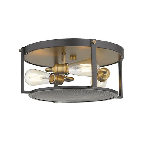 Halycon 3 Light Flush Mount in Bronze + Heritage Brass