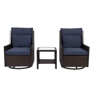 3 Piece Outdoor Swivel Chair Set, Dark Brown/Navy