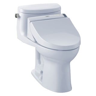 Toto Supreme II WASHLET+ One-Piece Elongated 1.28 GPF Universal Height Toilet with CEFIONTECT, Cotton White (CST634CEFGT20#01)
