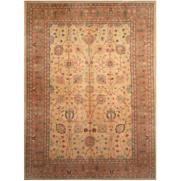 Handmade Vegetable Dye Oushak Wool Rug (Afghanistan) - 10' x 13'7