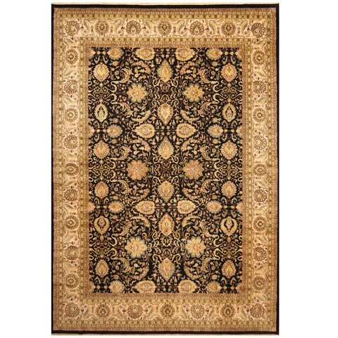 Handmade Herat Oriental Indo Hand-knotted Vegetable Dye Tabriz Wool Rug (10' x 14') - 10' x 14'