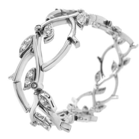 1990s Tiffany & Co. Diamond Platinum Garland Bracelet (F,VS)