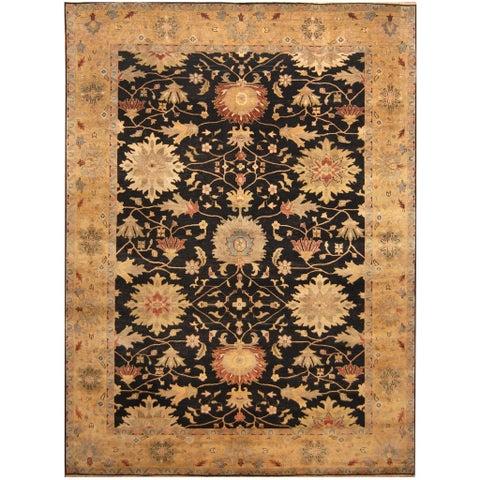 Handmade Herat Oriental Indo Hand-knotted Vegetable Dye Oushak Wool Rug (10' x 13'9) - 10' x 13'9