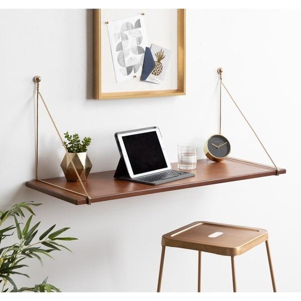 Kate and Laurel Vista Wood Wall-mounted Desk Shelf. Opens flyout.
