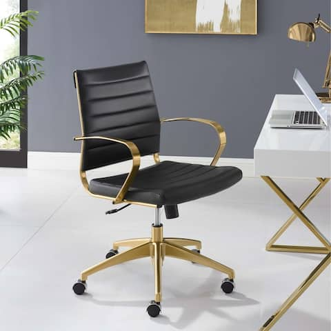 Strick & Bolton Soriano Gold Stainless Steel Mid-back Office Chair