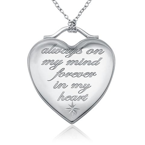 "Sterling Silver Heart Shaped ""Always On My Mind Forever In My Heart"" Memory Fashion Locket Pendant for Women - Solemn and Secure"