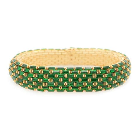 18K Yellow Gold Mesh Style Vintage Emerald Bracelet (7 Inches)
