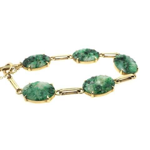 14K Yellow Gold Carved Jade Vintage Bracelet (9.5 Inches)