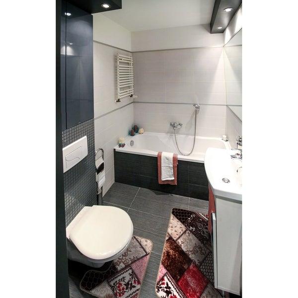 "Bath 2-set 17x15"" + 18x30"" Newruz Print Mat Absorbent Soft Floor Area Rug Non-slip Carpet Brown-Red - 18"" x 30""/17"" x 15"""