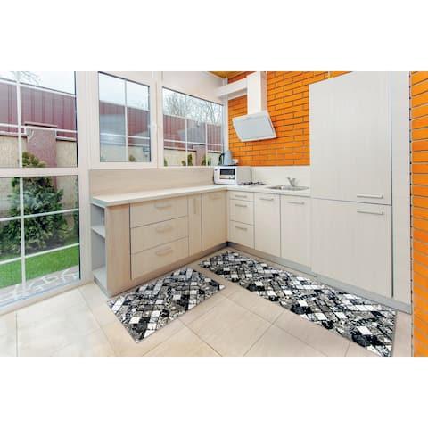 "Kitchen 2-set 16x24"" + 16x47"" Newruz Print Bath Mat Absorbent Soft Floor Area Rug Non-slip Carpet Black-White"