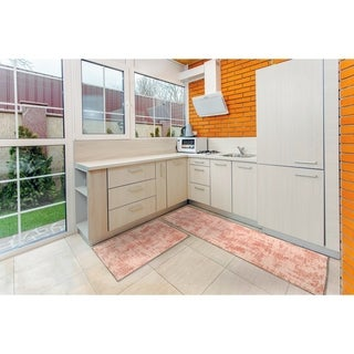 "Kitchen 2-set 16x24"" + 16x47"" Newruz Print Bath Mat Absorbent Soft Floor Area Rug Non-slip Carpet Pink-Light Pink"
