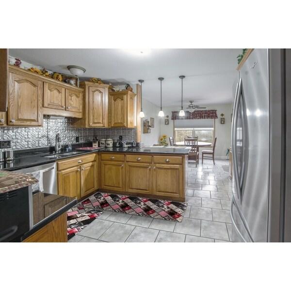 "Kitchen 2-set 16x24"" + 16x47"" Newruz Print Bath Mat Absorbent Soft Floor Area Rug Non-slip Carpet Brown-Red"