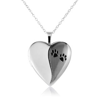 Sterling Silver Heart Shape Paw Prints Cremation Keepsake Fashion Locket Pendant With Chain For Women 20mm Timeless Elegant