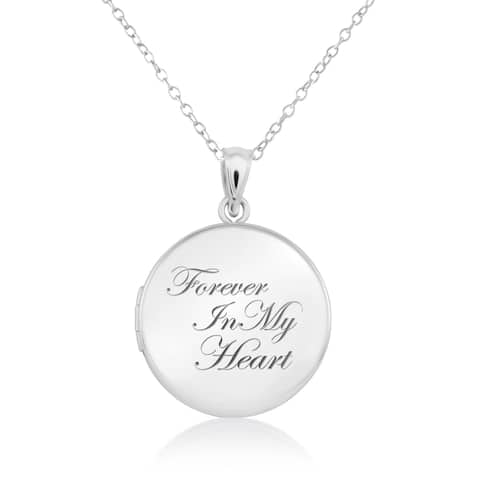 """Sterling Silver Round Shape """"Forever in my Heart"""" Cremation / Keepsake Fashion Locket Pendant with Chain for Women, 20mm"""