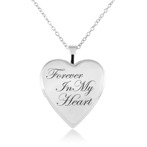 """Sterling Silver Heart Shape """"Forever in my Heart"""" Cremation / Keepsake Fashion Locket Pendant with Chain for Women, 20mm"""