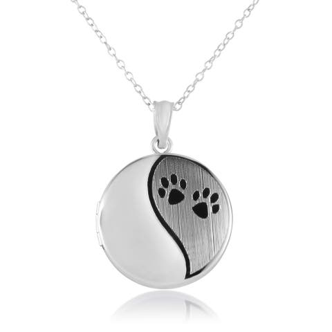 Sterling Silver Round Shape Paw Prints Cremation / Keepsake Fashion Locket Pendant with Chain for Women, 20mm -Timeless, Elegant