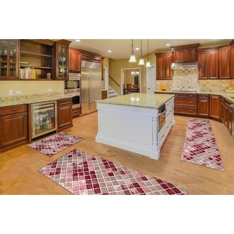 "Kitchen 3-set 20x30"" + 26x45"" + 20x59"" Newruz Print Bath Mat Absorbent Soft Floor Area Rug Non-slip Carpet Red-Beige"