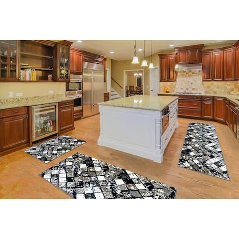 "Kitchen 3-set 20x30"" + 26x45"" + 20x59"" Newruz Print Bath Mat Absorbent Soft Floor Area Rug Non-slip Carpet Black-White"