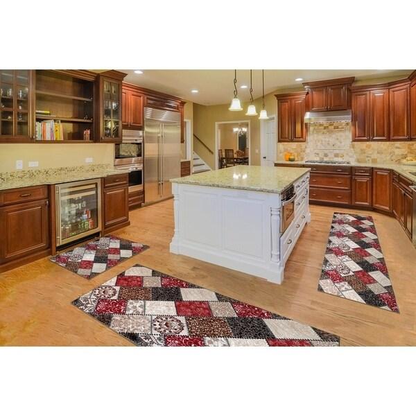 "Kitchen 3-set 20x30"" + 26x45"" + 20x59"" Newruz Print Bath Mat Absorbent Soft Floor Area Rug Non-slip Carpet Maroon-Beige"