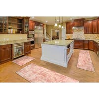 "Kitchen 3-set 20x30"" + 26x45"" + 20x59"" Newruz Print Bath Mat Absorbent Soft Floor Area Rug Non-slip Carpet Pink-Light Pink"