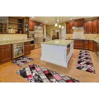 "Kitchen 3-set 20x30"" + 26x45"" + 20x59"" Newruz Print Bath Mat Absorbent Soft Floor Area Rug Non-slip Carpet Brown-Red"