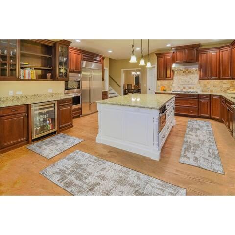 "Kitchen 3-set 20x30"" + 26x45"" + 20x59"" Newruz Print Bath Mat Absorbent Soft Floor Area Rug Non-slip Carpet Beige-Brown"