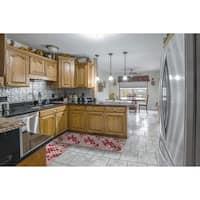"Kitchen 2-set 16x24"" + 16x47"" Newruz Print Bath Mat Absorbent Soft Floor Area Rug Non-slip Carpet Red-Beige"