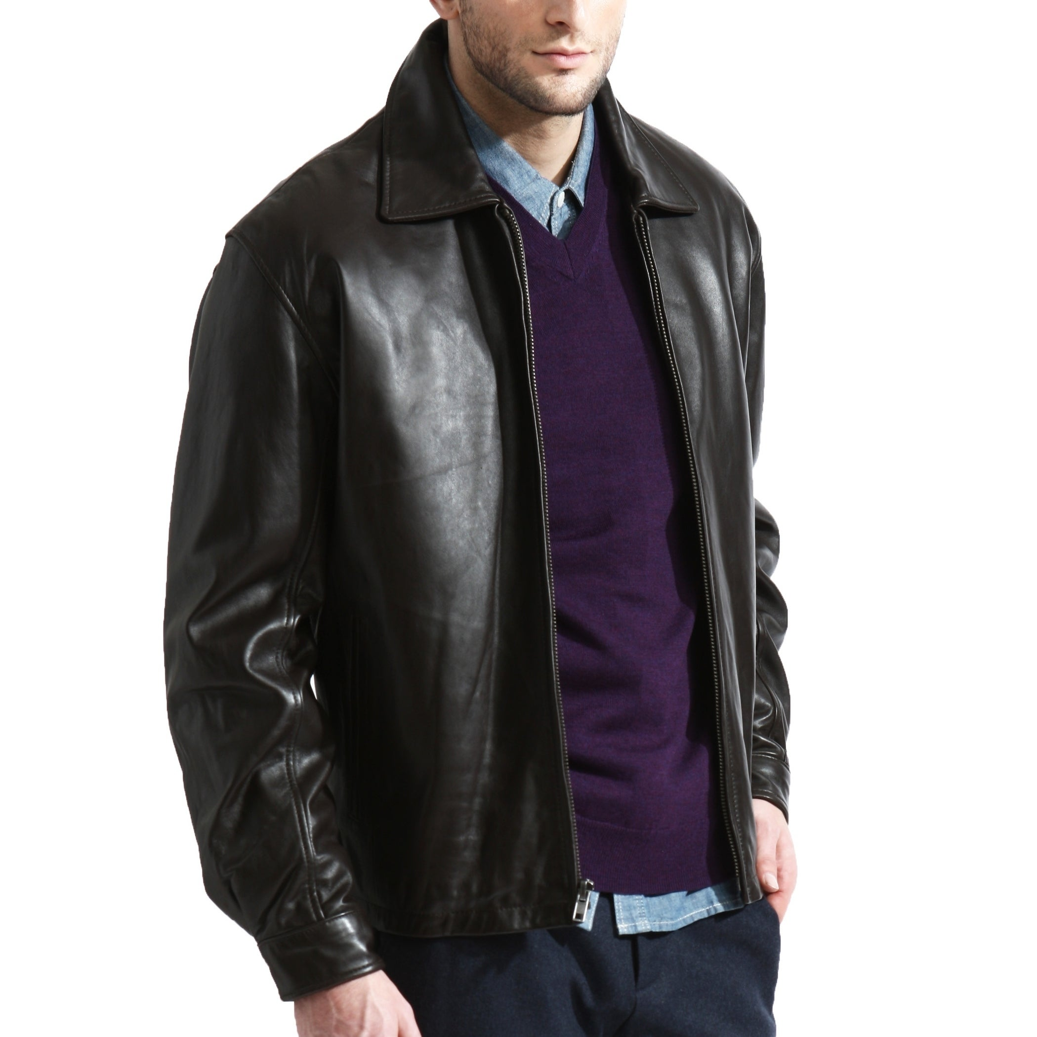 Black Lambskin Leather Classic Bomber Leather Jacket. Mens Leather Jacket