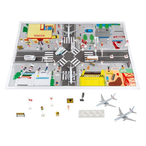 Hey! Play! Diecast 43-piece Airport Playset - Airplane, Delivery Truck Toys with Mat and Accessories