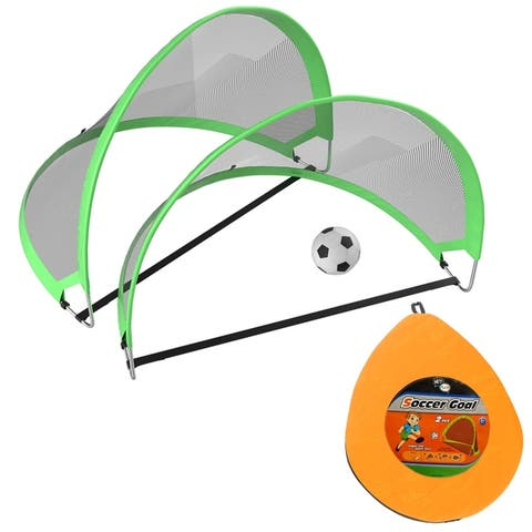 """Pop Up Soccer Goals- Set of 2 Kids Outdoor Mini Play and Practice Nets with Travel Carrying Bag and Ball by Hey! Play! - 5"""" Ball"""