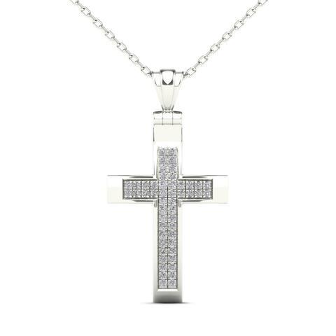 AALILLY 10k White Gold 1/8ct TDW Diamond Cross Pendant Necklace (H-I, I1-I2)