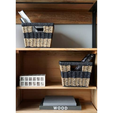 The Curated Nomad Ray Handmade Modern Wicker Shelf Baskets (Set of 2)