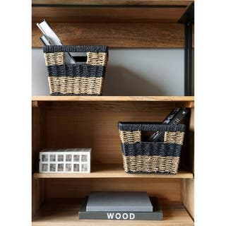 Modern Wicker Shelf Basket (Set of 2) by Handcrafted 4 Home