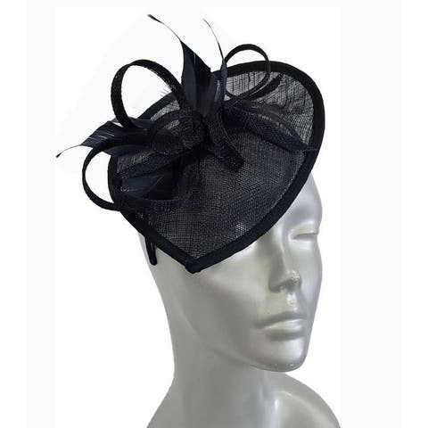 Navy Feather Bow Church Wedding Fascinator Hat